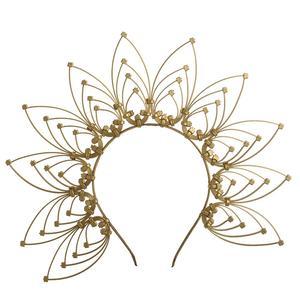 Image 3 - Gold Spike Halo Crown Kopfstück NYLON ZIP TIE Elf Hochzeit Braut Haar Band Frauen Stirnband Kopfschmuck