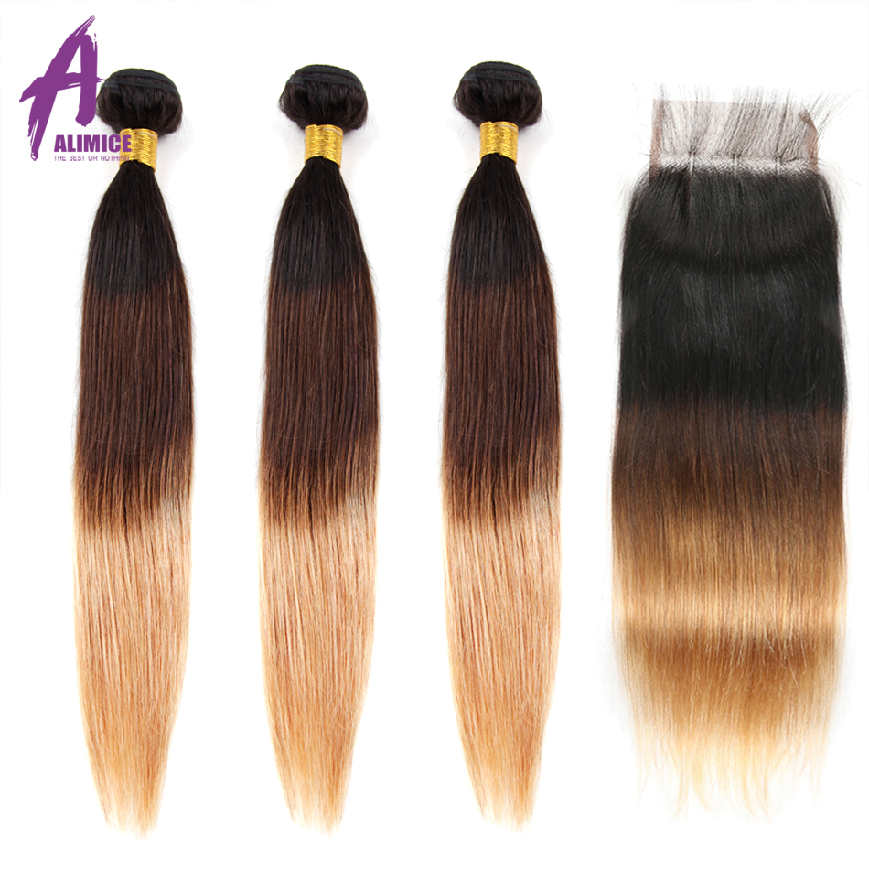 Alimice Blonde Human Hair Bundles With Closure 3 Bundles With Lace Closure 1B/4/27 Ombre Blonde Indian Straight Hair Remy