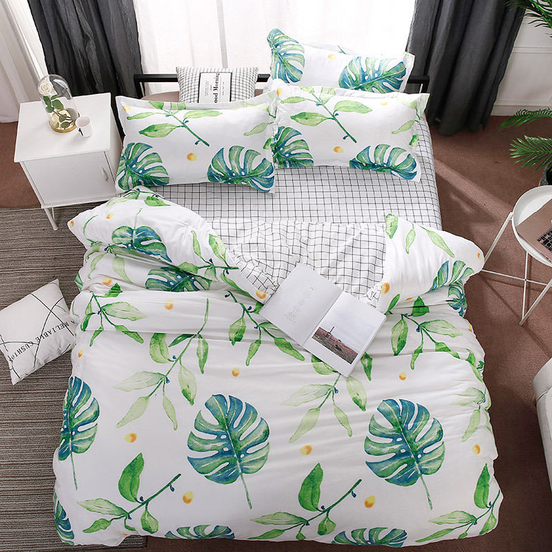 Tropical Plants Leaves 4pcs Girl Boy Kid Bed Cover Set Duvet Cover Adult Child Bed Sheet Pillowcase Comforter Bedding Set 61014