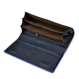 Image 4 - Kadın cüzdan yüksek kaliteli yağ balmumu hakiki deri cüzdan kadın uzun bayanlar bozuk para cüzdanı kart tutucu Femme mavi çanta
