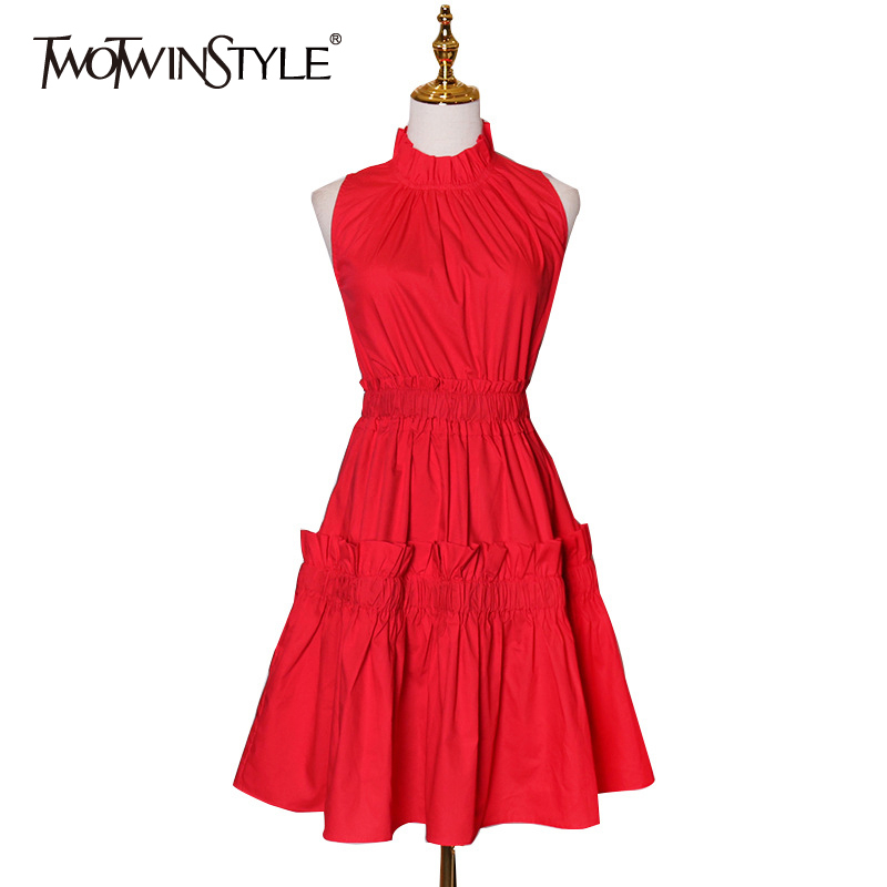 TWOTWINSTYLE Casual Patchwork Ruffles Dresses For Female Stand Collar Sleeveless High Waist Ruched Dress Women Fashion 2020 Tide