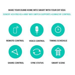 Image 5 - Sonoff enchufe inalámbrico con Wifi para casa inteligente, 4CH Pro R3, módulo domótico, 433mHZ, mando a distancia, 220V