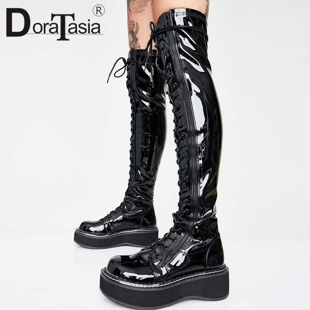DORATASIA yeni artı boyutu 35-46 marka tasarım kız moda platformu uyluk yüksek çizmeler kadın 2019 bayanlar diz üstü çizmeler ayakkabı kadın