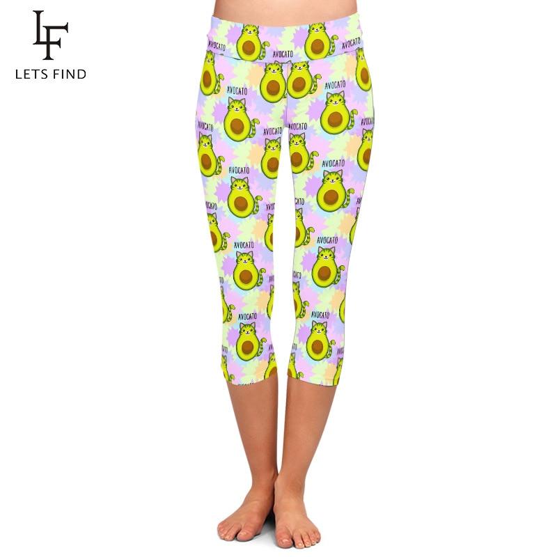 LETSFIND 2020 Summer Fashion High Waist Plus Size Soft Fitness Leggings 3D Cute Cartoon Avocadov Printing Capri Leggings