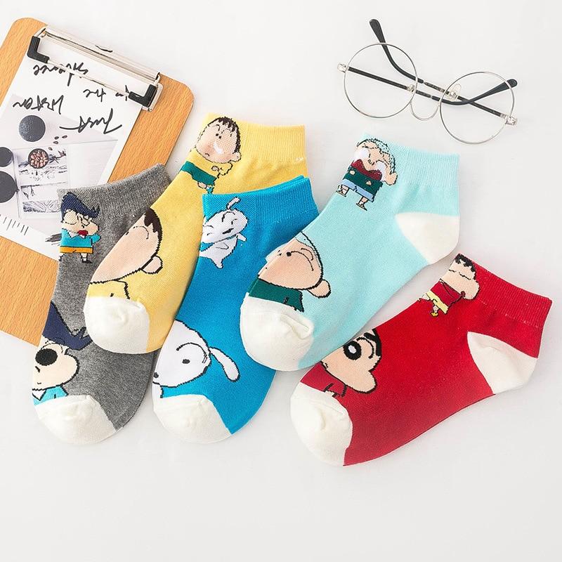 Women's Sock Cotton Funny Short Women Socks Cute Kawaii Art Happy Cartoon Comfortable Anime Casual Crayon Shin Chan Skarpetki