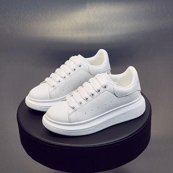 Zapatos de plataforma para mujer, zapatillas de deporte blancas, zapatos de cuero...