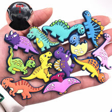 Hot Sale 1pcs Shoe Charms Novel Dinosaur Shoe Accessories Cute Garden Shoe Decoration for croc jibz Buckle Kid's X-mas boys Gift(China)
