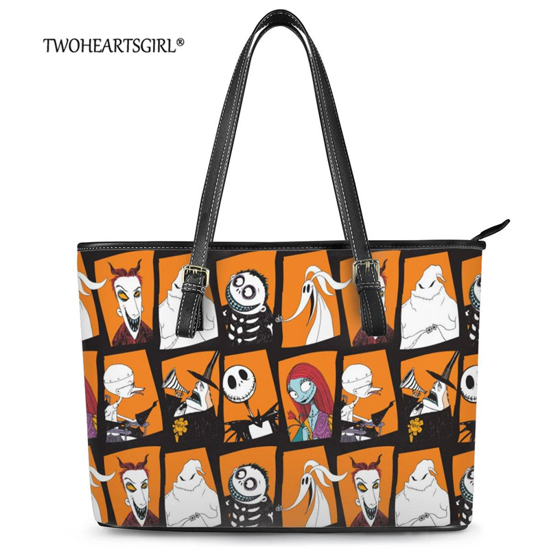 Twoheartsgirl New Trendy Nightmare Before Christmas Print Luxury Women Casual Shoulder Bag Leather Tote Bag for Ladysac a main