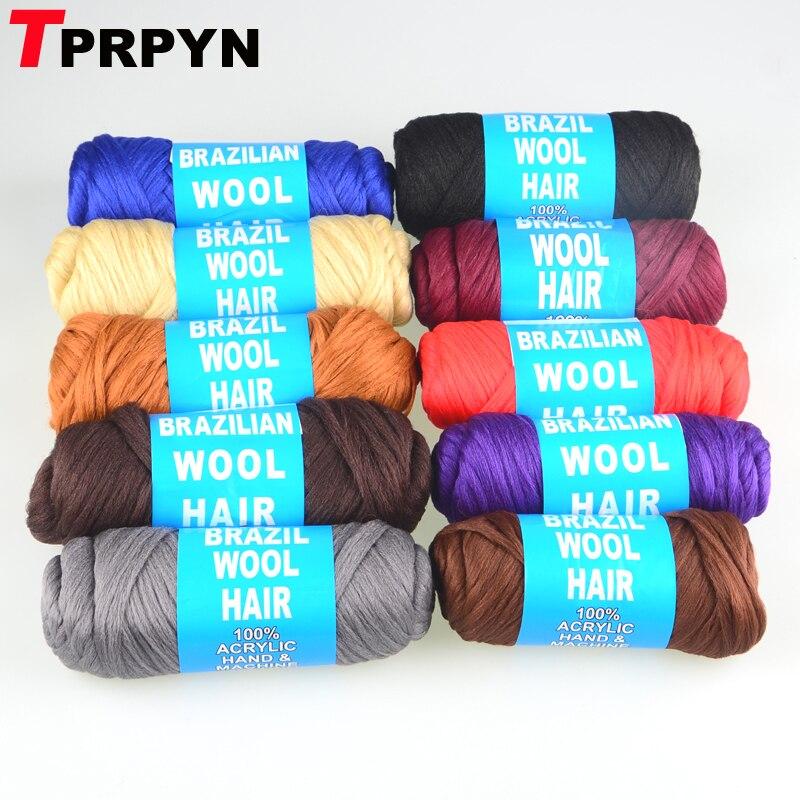 5 pces = 350g brasil cabelo de lã brasileira baixa temprature chama-retardador de fibra sintética para trança