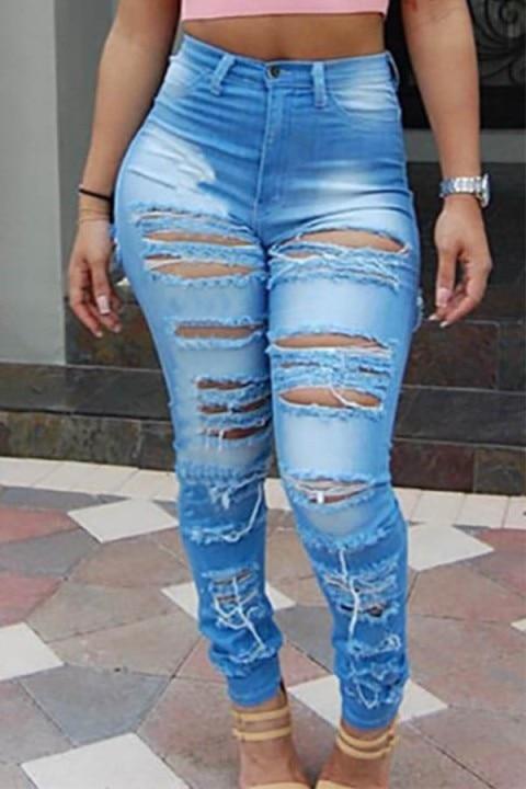 2020 Hot Sale Classic Streetwear Women Blue Vintage Denim Women Jeans Femme Fashion Retro Button Fly Frayed Hole Leggings Pants