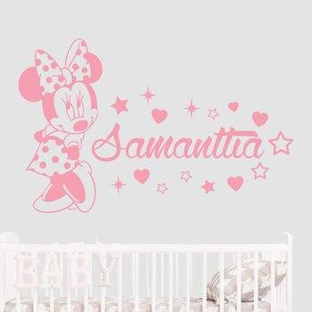 Disney Custom Name Mickey Mouse Minnie Vinyl Wall Sticker Decor For Nursery Room Kids wall paper VA8714