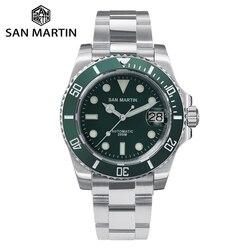 San Martin Taucher Wasser Geist Luxus Sapphire Kristall Männer Automatische Mechanische Uhren Keramik Lünette 20Bar Leucht Datum Fenster