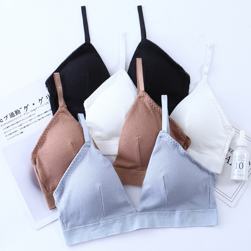 French Bralette Push Up Bras For Women Seamless Top Female Brassiere Cotton Triangle Bra Sexy Lingerie Padded Comfort Underwear