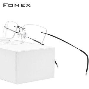 Image 1 - FONEX سبائك التيتانيوم بدون إطار نظارات الرجال مربع وصفة النظارات رجل فرملس قصر النظر إطارات النظارات البصرية 76127