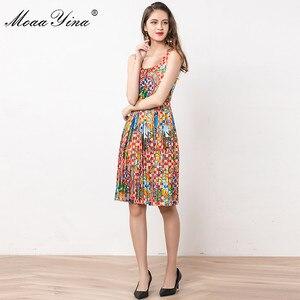 Image 5 - MoaaYina Fashion Designer Dress Summer Women Spaghetti strap Beaded Vintage Print Vacation Dress
