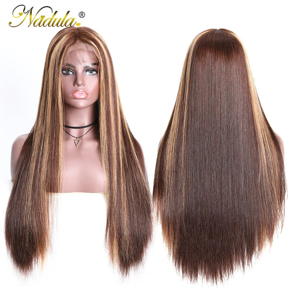 Nadula Hair 13X4 Straight Lace Front Wigs 150% /180% Density Highlight Lace Front  Wigs Virgin Hair Highlight Wig 5