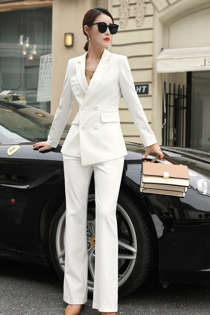 Womens Black Blue White Business Pant Suits For Women Plus Size Ladies Double Breasted Blazer With Pants Women's Work Pantsuit