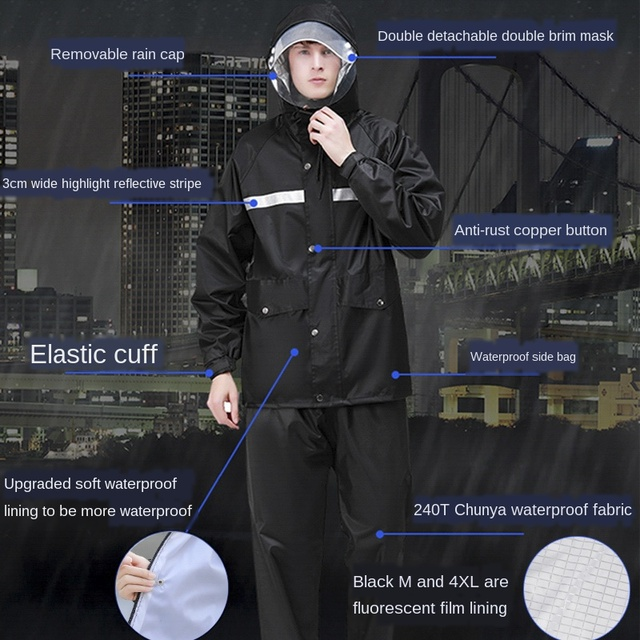 Men Motorcycle Raincoat Rain Pants Suit Adult Thickening Rain Poncho Waterproof Suit for Fishing Rainwear Casaco Masculino Gift 3