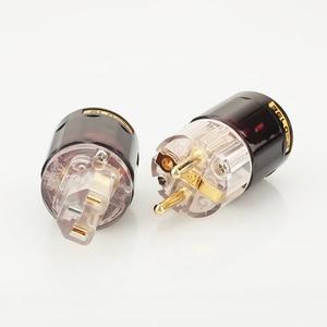Image 4 - Бесплатная доставка, одна пара, 24k, позолоченная стандартная штепсельная вилка европейского стандарта + женский разъем стандарта IEC для самостоятельной сборки аудио