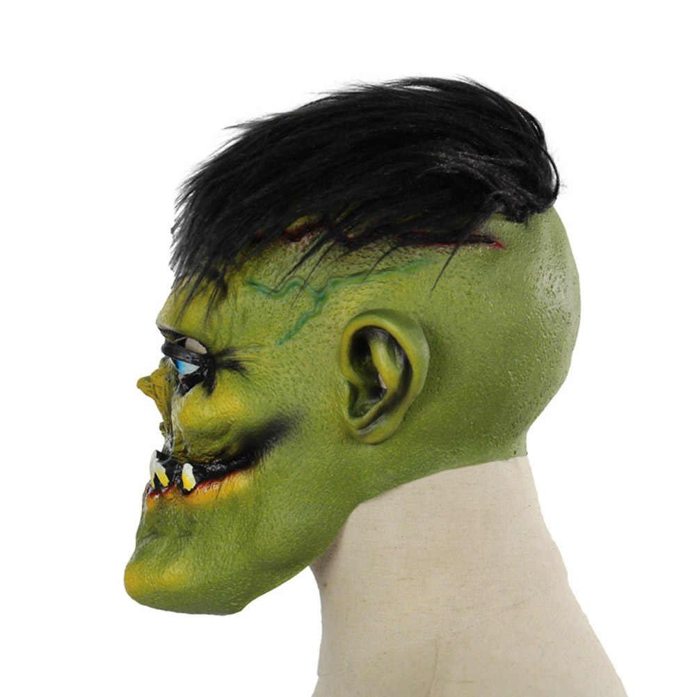 Masquerade straszna maska na Halloween całą twarz Horror zielony twarzy potwór zambi styl Cosplay maski kostium rekwizyty akcesoria Bar Party