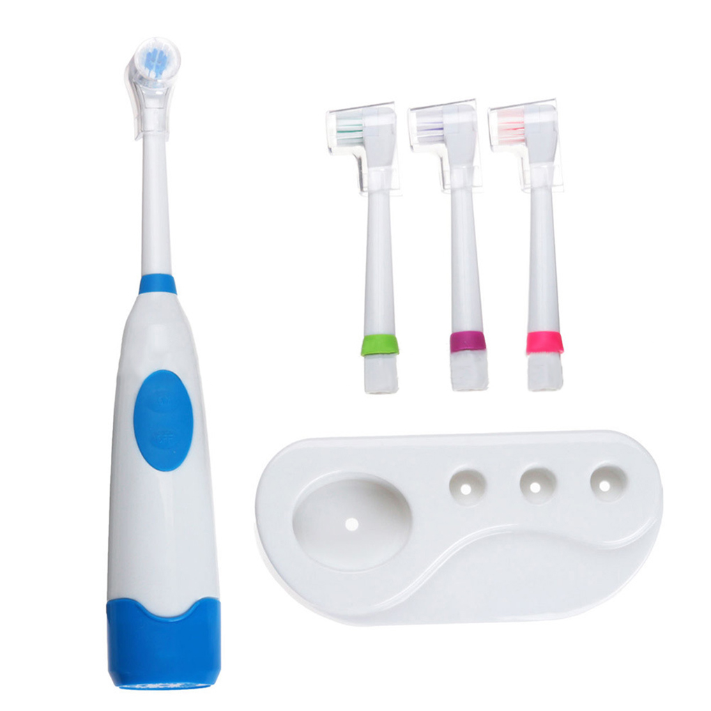 Rotating Electric Toothbrush with 4 Heads Oral Hygiene Baby Kids Toddler Tooth Brush Battery Operated image