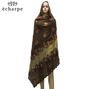 Image 5 - Nieuwe Afrikaanse Moslim Geborduurde Vrouwen Katoenen Sjaal Zuinig, Katoen Big Size Lady Sjaal Voor Sjaals EC200