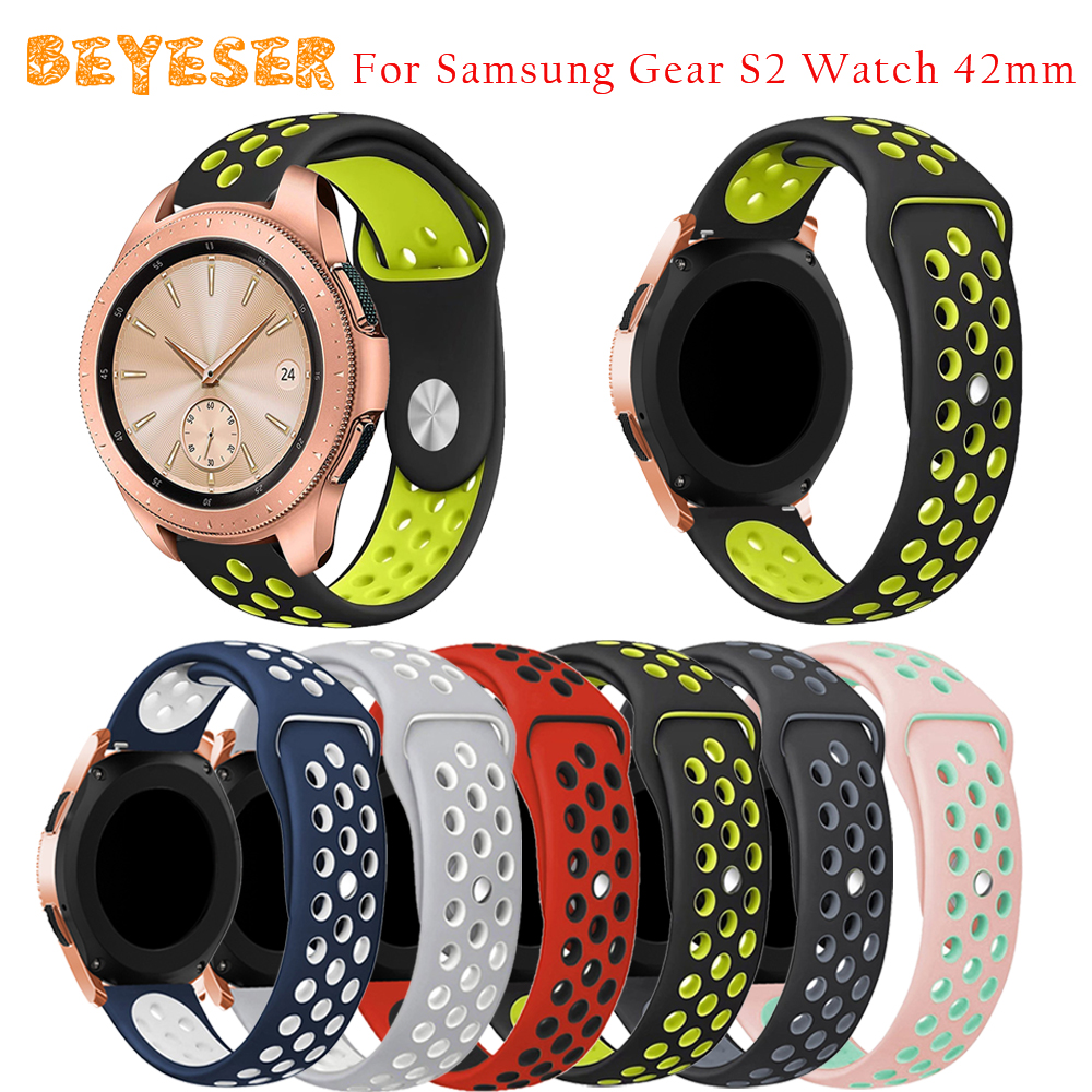 High quality Silicone watch strap For Samsung Galaxy Watch 42mm Smart Watch band replacement Double Color Round Hole wristband
