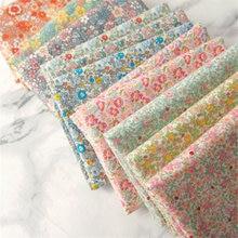 Pano floral de algodão para crianças, roupa infantil de 145x50cm para verão, tecido de costura, decoração de casa, vestido para bebês 160 g/m