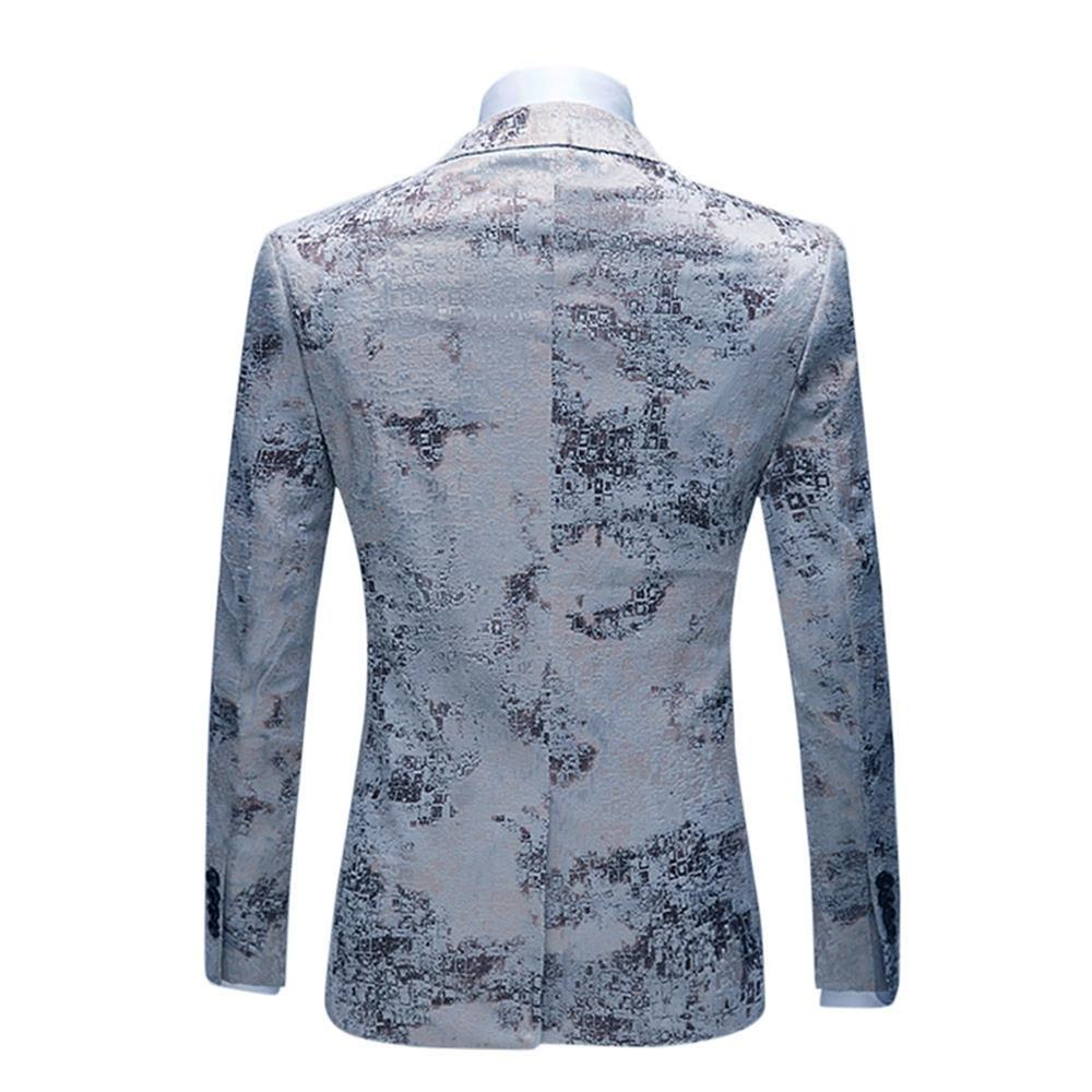 New Men Blazer Wedding & Party Jackets Suit Men's Two Buttons &Black Jacquard &Floral Printed Business Leisure Fashion - 4