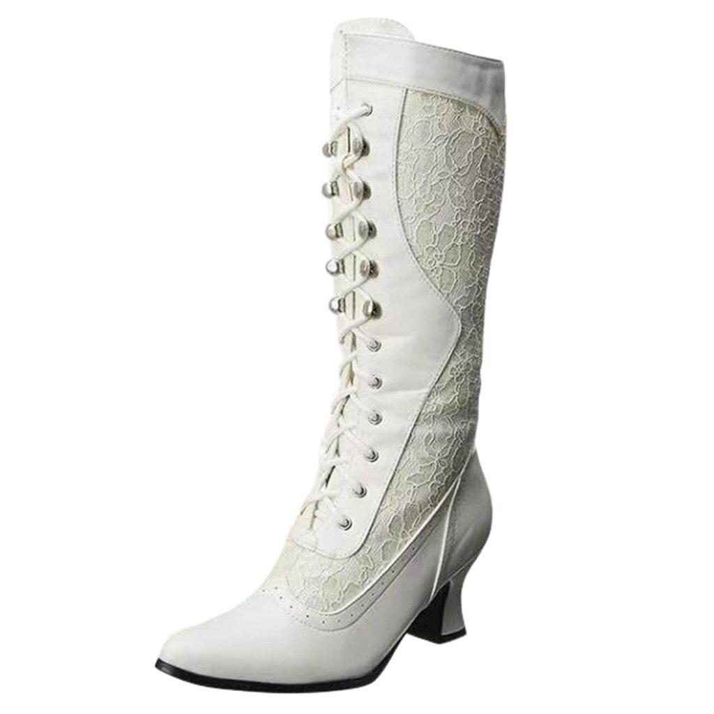 Женские байкерские ботинки на высоком каблуке модные ботинки с острым носком на шнуровке ботинки средней длины с боковой молнией обувь в го...