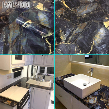 2012 Dark Blue Black Marble Self-adhesive Wallpaper Removable PVC Waterproof Granite Sticker Kitchen Countertop Contact Paper 5M