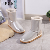 TPCR Fashion Sheepskin Leather Natural Sheep Fur Lined White Snow Boots for Women Boots Waterproof Warm Large size Female Shoes