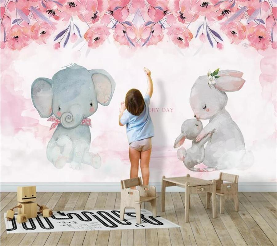 Beibehang Custom Wallpaper 3D Mural Fashion Pink Elephant Rabbit Children Room Decoration Painting Background Wall