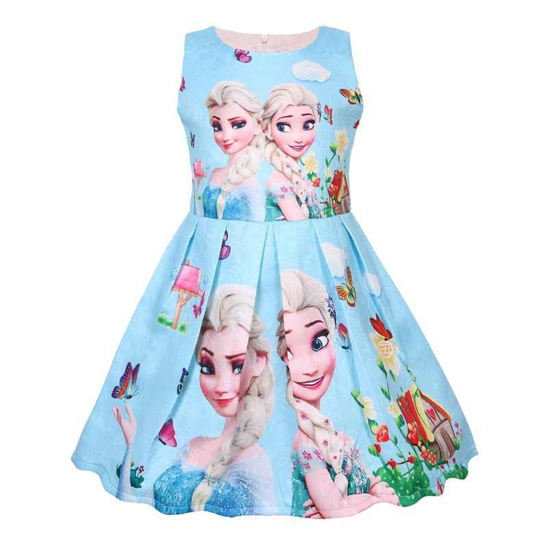 Kar kraliçesi kız elbise Elsa Anna elbise kızlar için doğum günü hediyesi kostüm partisi prenses Tutu kızlar yaz elbisesi çocuk giyim