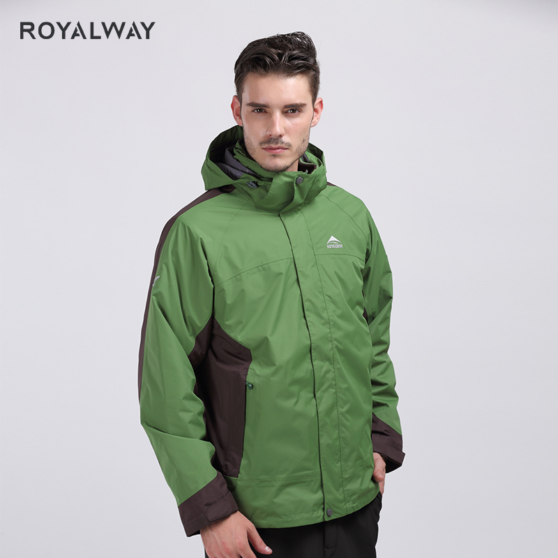 ROYALWAY Winter Camping Hiking Windbreaker High quality Removable Fleece Liner  2 Pieces for Men Outdoor Travel ROM5347D|Hiking Jackets| |  - title=