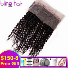 "Bling Hair Kinky Curly 360 Lace Frontal Closure With Baby Hair Natural Color Peruvian 100% Remy 13*4 Human Hair Closure 8"" 22"""