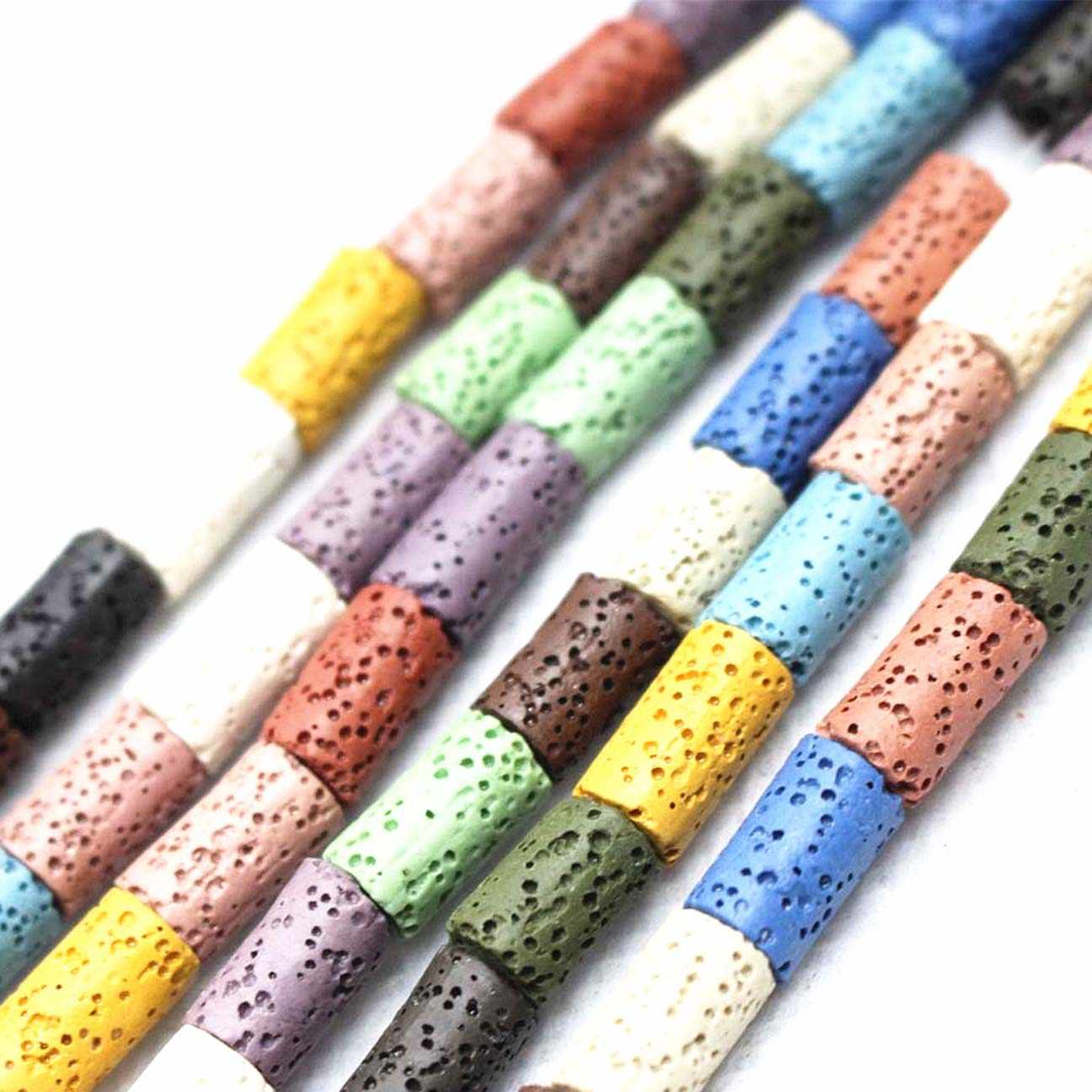 Wholesale Natural Lava Loose Beads,15 Color Volcanic stone Cylinder shape beads DIY jewelry accessories