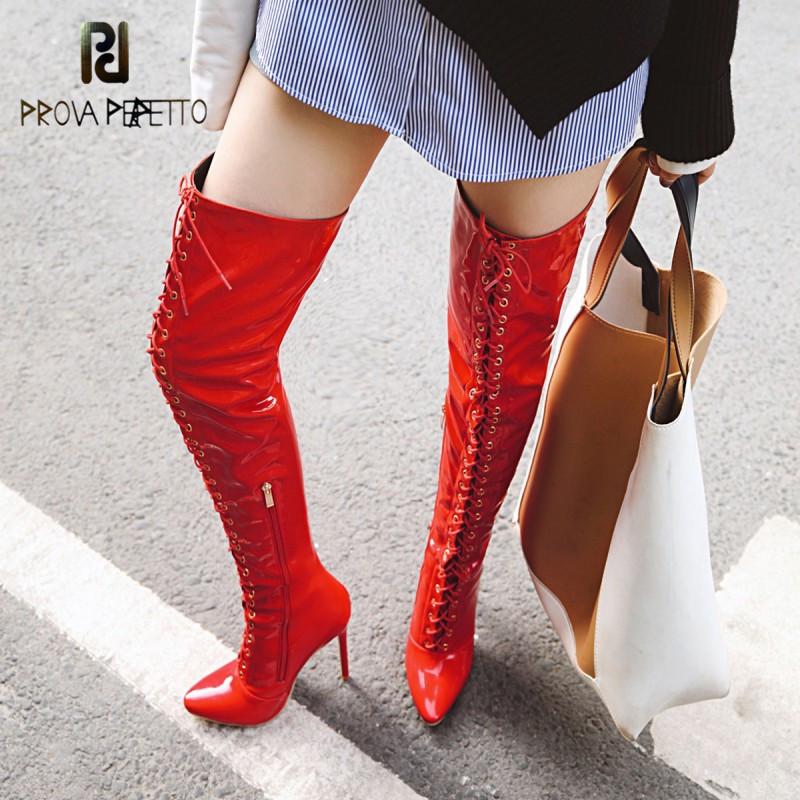 Prova Perfetto Thigh High Boots Women Front lace-up Over The Knee Boots Winter Shoes Woman Pointed Toe High Heels Botas Mujer