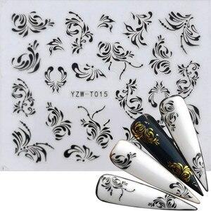 30 видов наклеек для ногтей черный и золотой цветок/Любовь/кружево/буквы виноград бриллиантовое ожерелье гель лак слайдер аксессуары перево...