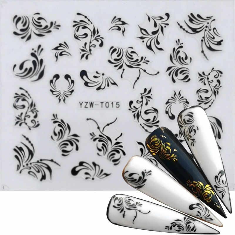 30 Gaya Stiker Kuku Hitam & Emas Bunga/Cinta/Renda/Huruf Vine Kalung Berlian Gel Polandia Slider aksesoris Nail Art Stiker