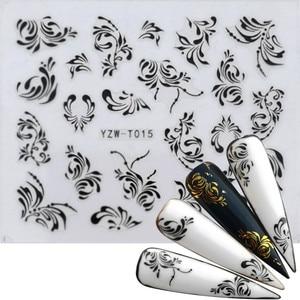 30 Styles Nail Sticker Black&Gold Flower/Love/Lace/Letter Vine Diamond Necklace Gel Polish Slider Accessories Nail Art Decals