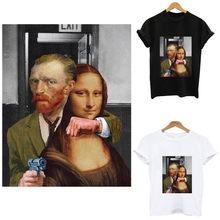 Van Gogh i Mona Lisa żelazko na plastry paski termo naklejki na ubrania wrażliwe na ciepło aplikacje na odzież niestandardowe poprawki