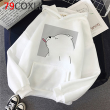 Women Hoodies Sweatshirts Bear Aesthetic Harajuku Winter White Fashion Cute Kawaii Female