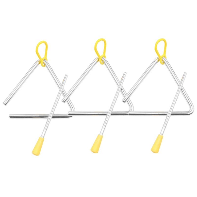 Music Triangle Instrument Set, Hand Percussion Triangle Children Musical Instrument With Striker 3 Pack Triangle 4 Inch
