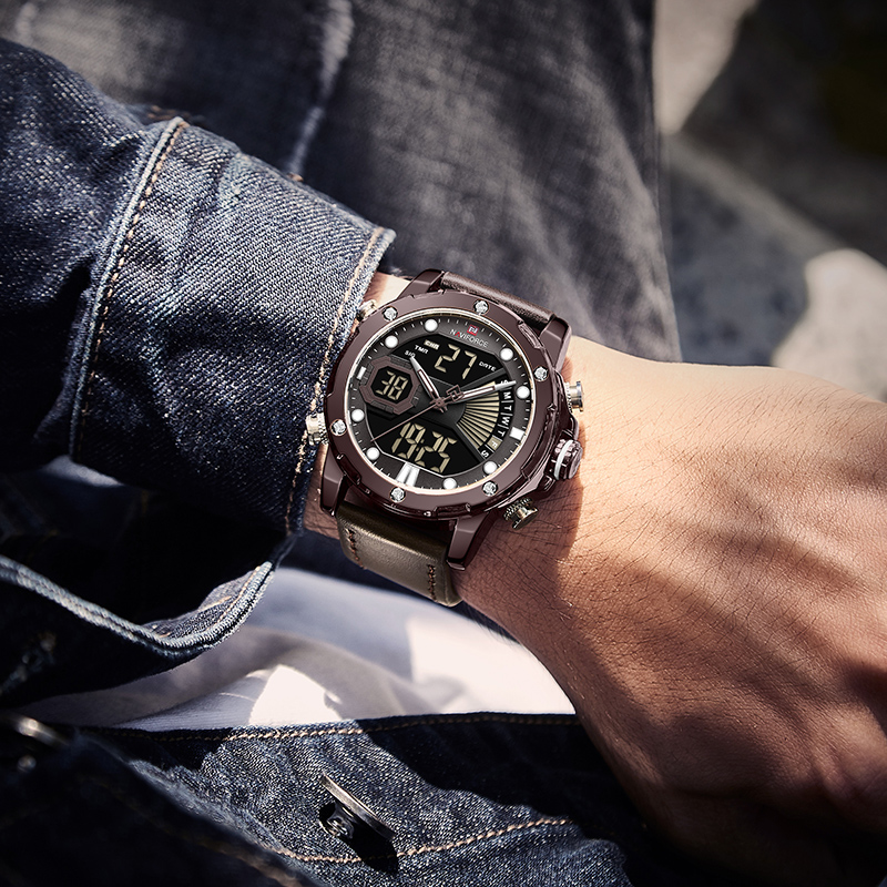 NAVIFORCE, роскошные брендовые часы, мужские кварцевые часы, мужская мода, Авто Дата, светодиодный, двойной дисплей, браслет, Прямая поставка, Reloj ... - 6