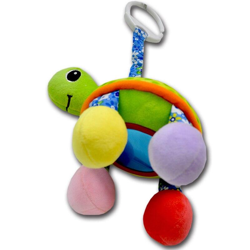 Купить с кэшбэком Creative Baby Rattle Toys Tortoise Plush Baby Toys  Baby Lathe Hanging Ring  Walker Trolley Pendant Newborn Toys for Bed