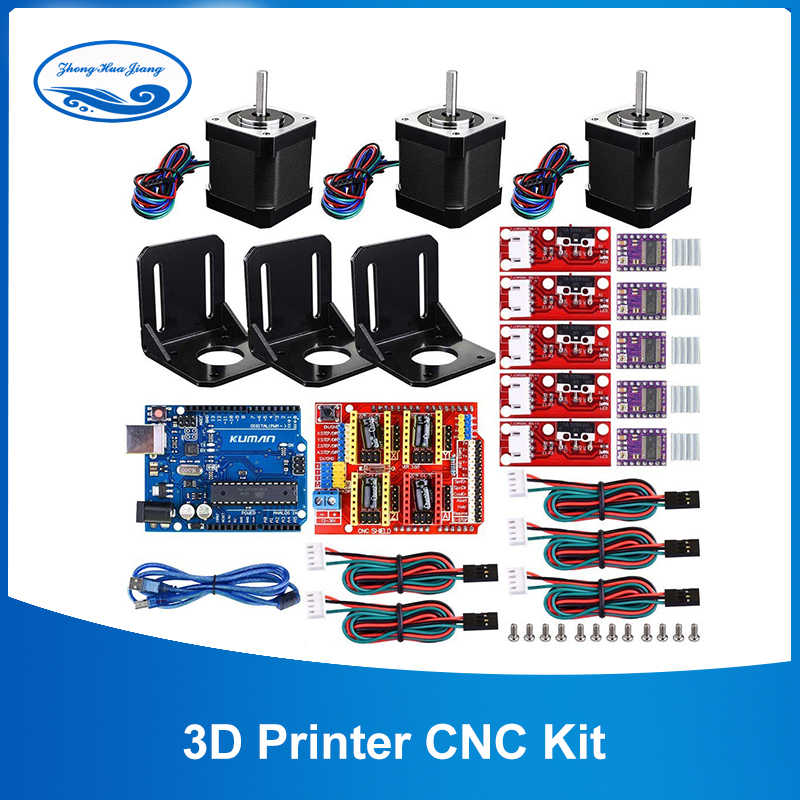 3D Printer CNC Kit,for Arduino GRBL Shield+UNO R3 Board+RAMPS 1.4 Mechanical Switch Endstop+DRV8825 Motor Driver+Nema 17 motor