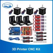 Kit cnc de impressora 3d, placa uno para proteção, para arduino grbl placa r3 + rampas 1.4 interruptor mecânico de parada + motor drv8825 + nema motor 17,