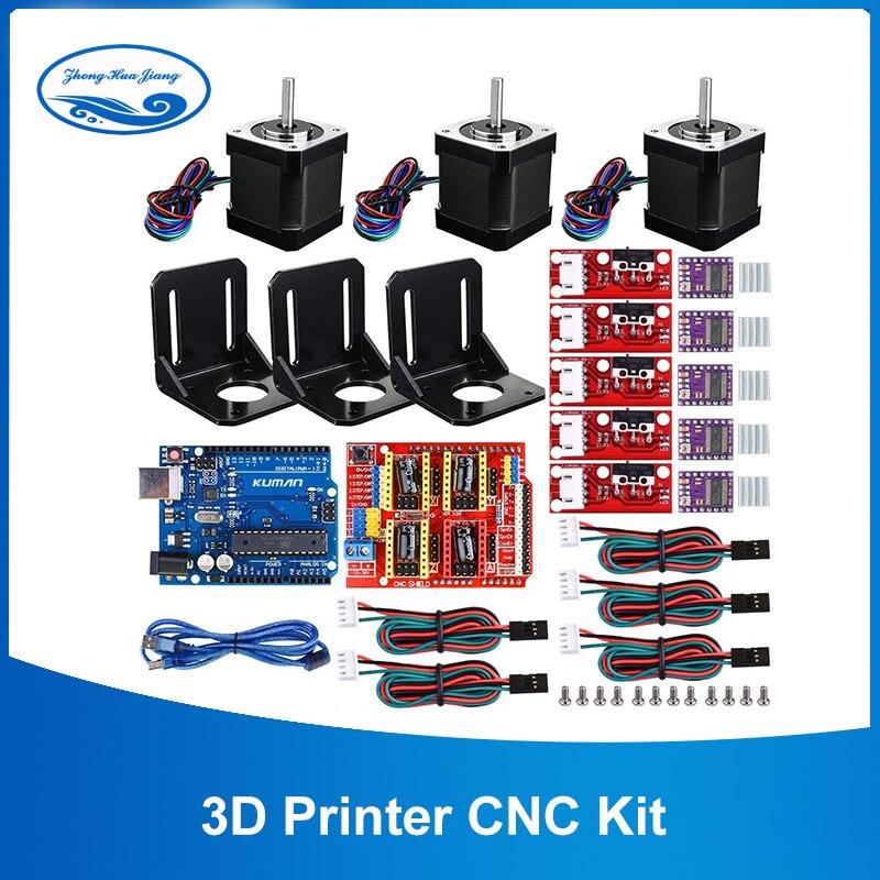 Kit de CNC d'imprimante 3D, pour Arduino GRBL Shield + carte UNO R3 + rampes 1.4 commutateur mécanique butée finale + pilote de moteur DRV8825 + moteur Nema 17