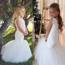 White Mermaid Flower Girls Dresses for Wedding Party Trumpet Kids Little Girl Pageant Communion Dresses skyyue girl pageant dress appliquie lace flower tulle flower girl s dresses for wedding o neck bow communion gowns 2019 dk2918
